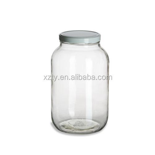 Widemouth Clear Gallon Glass Jar (128oz) w/ White Metal Lid