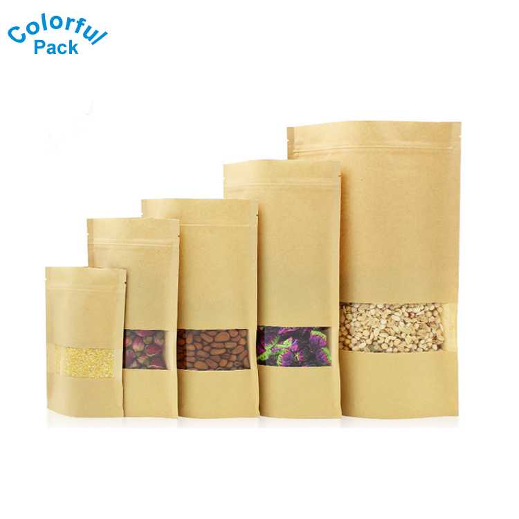 250g snack/tea/coffee/<strong>rice</strong> food grade snack ziplock stand up pouch kraft packaging paper bag with window
