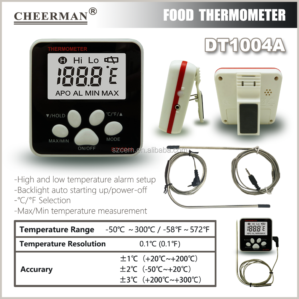 Stainless Steel and Digital Thermometer Type cooking kitchen food BBQ thermometer DT1004A -50-300C