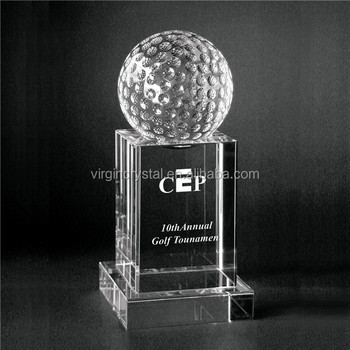 Crystal golf trophy with customized logo as promoitonal item