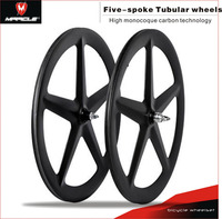 Carbon Wheels for Track Bicycle Triathlon Bikes fixed gear carbon spoke T700 Time Trial Bikes Wheel 5 Spokes Wheelset