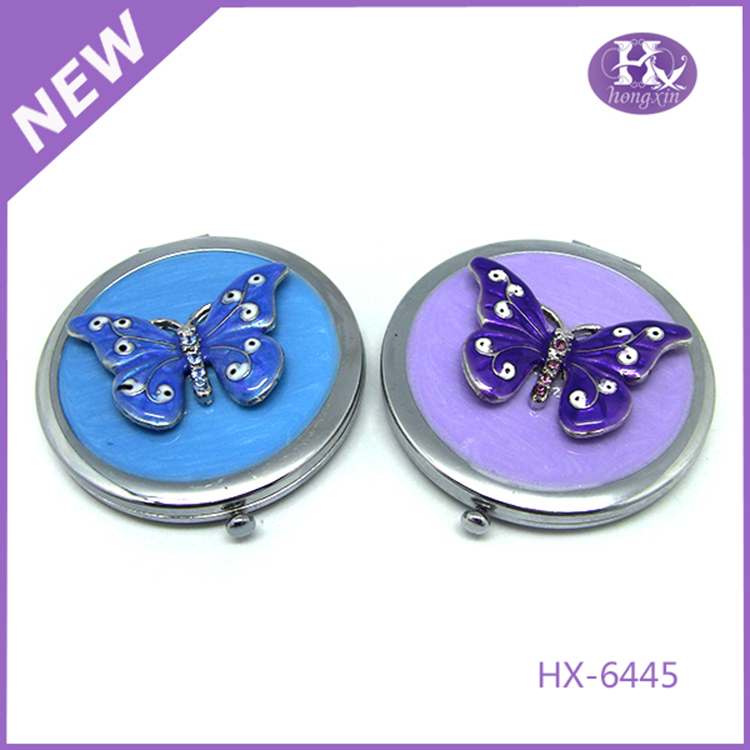 HX-6445 Pewter butterfly round metal murano glass compact mirror