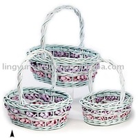 Wicker Flower Basket Set Of 3