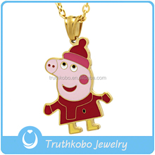 charm religious pendant necklace flying pig design necklace pilgrim crescent friendship jewelry