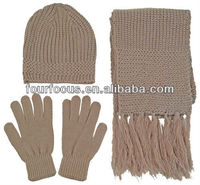 adult plain dobby knitted hat scarf glove sets