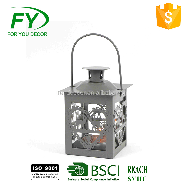Ml-2194 Christmas And Wedding Decoration Metal Candle Lantern With Heart And Deer Design