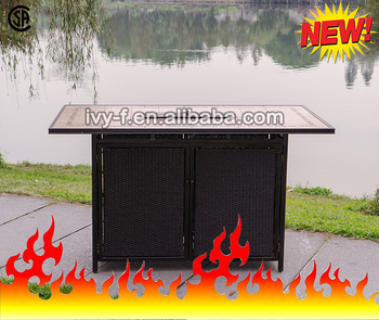 Inch Tile Top Fire Pit Propane Bar Height Fire Pit Table - Bar top fire pit table