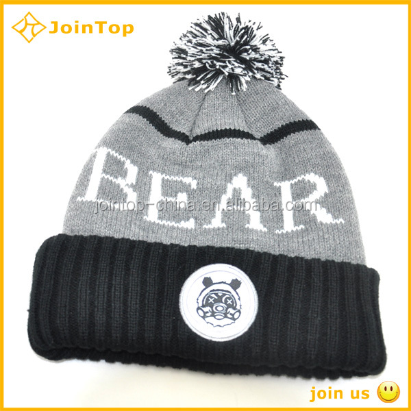 Striped printing polyester polar fleece beanie cap