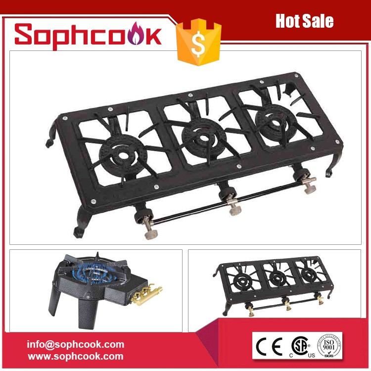 hiking using outdoor cooking gas stove cast iron burner