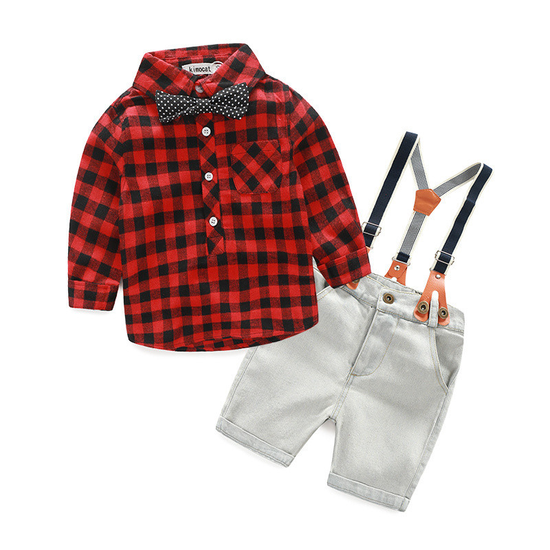 Retail personality children suit autumn style 2 pcs shirt+suspender boy sets free shipping