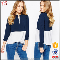 Latest fashion blouse styles long sleeve stand collar colour block lady blouse & top