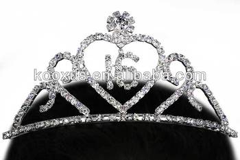 Sweet Sixteen fashion crystal tiara crown jewelry