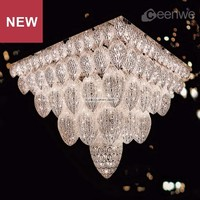 Luxury Deco Large Hotel Lobby Ceiling Light flush mount crystal chandelier light