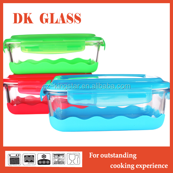 High borosilicate glass food storage container with silicone base/ Clear transparent glass container with airtight lid