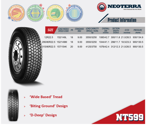 Neoterra best quality TBR good dynamic balance super over-loading tyre