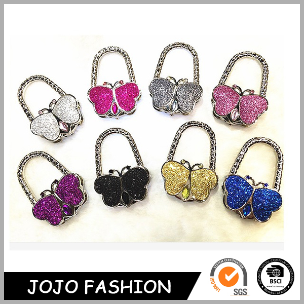 Pink Shimmering Powder Butterfly Shaped Portable Folding Rhinestone Crystal Alloy Purse Handbag Hook Restaurant Bag Hanger
