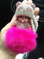 Irresistible Charm 2016 Deluxe Diamond Doll Colorful Rabbit Fur Pompom/Ball Keyring/Key Chain