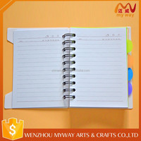 PVC cover school cheap plain design promotional spiral notebook with dividers