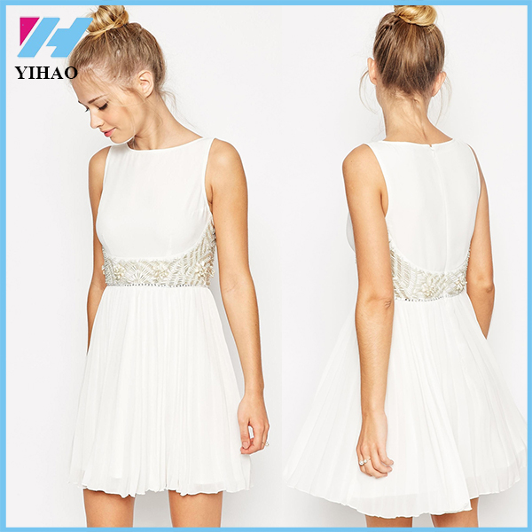 Yihao 2015 new arrival Women Summer Soild Elegant A-line sleeveless Casual Party Evening Short Mini White Dress
