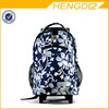 floral print royal blue fashion trolley rolling backpack
