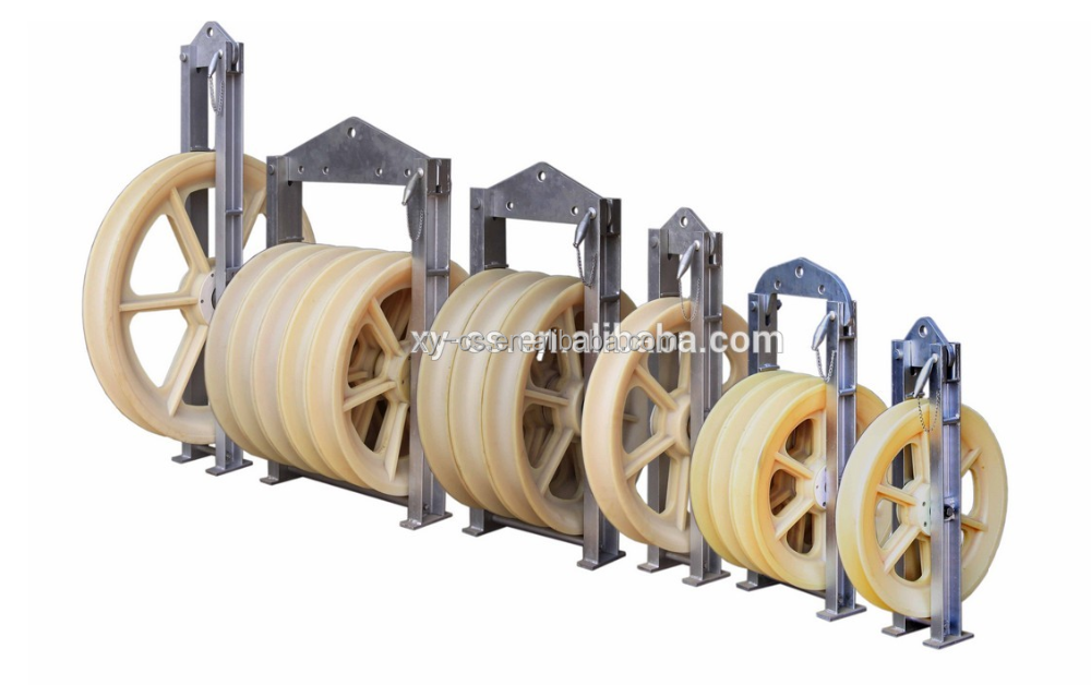 Three Nylon Wheel Bundled Conductor Pulley Section Area Under 500mm2 Line Stringing 3x660x100 mm