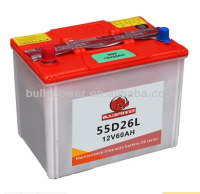 MF wholesale car batteries12V60AH,volta car batteries55D26L12V60AH,accumulator battery for car JIS 60AH