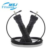 Anti-slip handle adjustable speed jump rope with steel wire