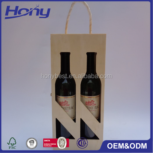 Natural Pine Wooden Double Bottles Wine Gift Carrying Case Box with Rope Handle and Windows