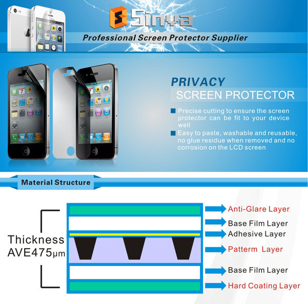 Sinva 2015 Best selling Protect Privacy Anti-spy Tempered Glass Screen Protector for iPhone 6 4.7 Inch