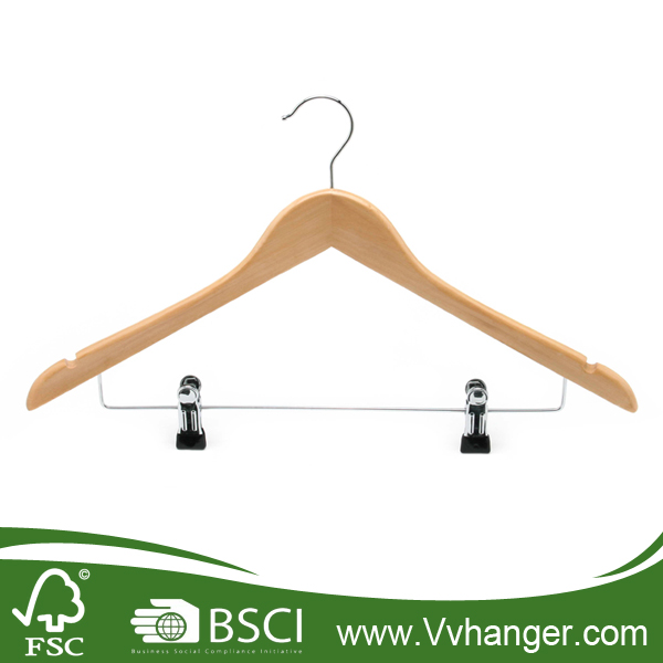 Factory discount LH010 wooden coat hanger with notches and clips