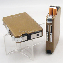 custom design automatic stainless steel cigarette case with lighter for promotional gift