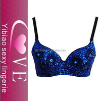 Floral Studded Bead and Sequin Bra Top Blue woman sexy lingerie