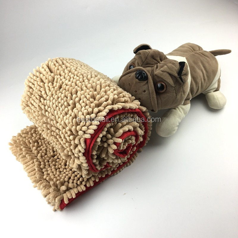 Ultra Absorbent Pets Microfiber Chenille Dog Towel with Hand Pockets