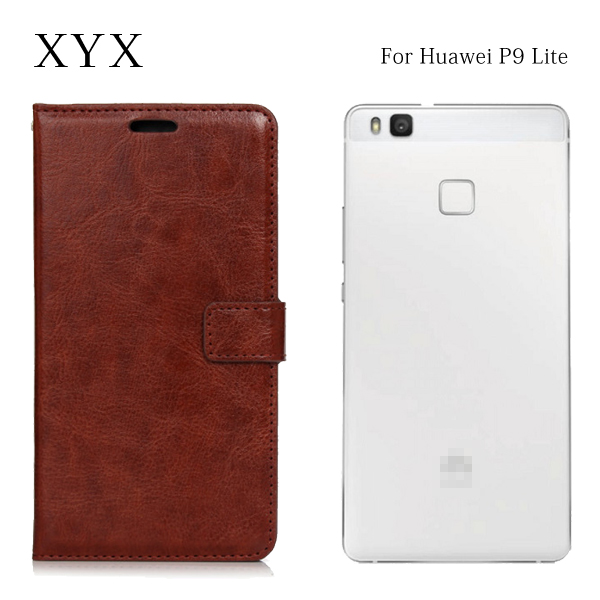 for huawei p9 lite back cover with oil edge crazy horse pu leather, mobile phone accessories flip case cover for huawei p9 lite