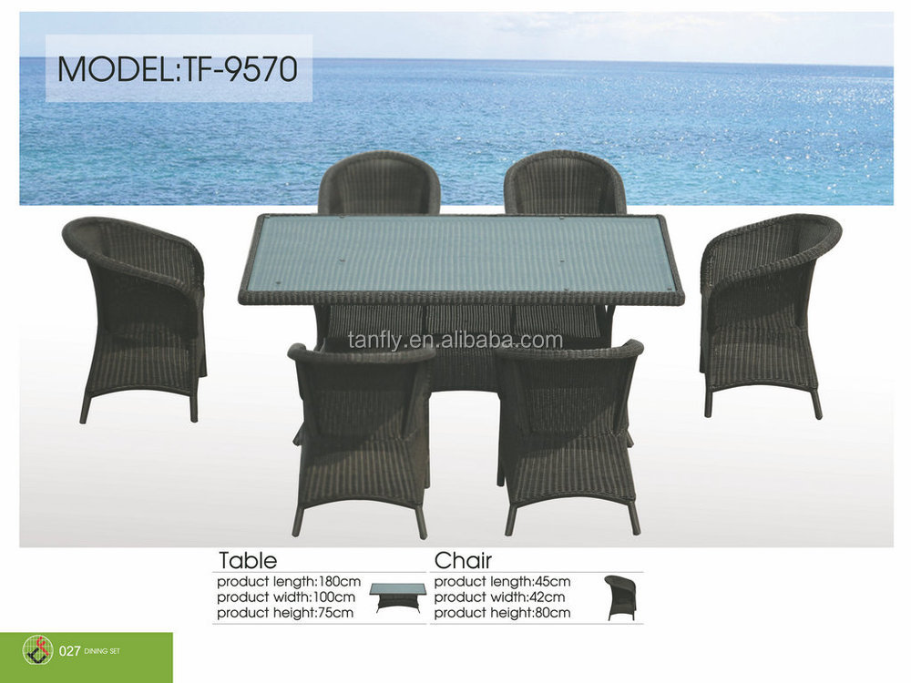 TF-9570 New design hand-made round wicker rattan rectangular Dining Table & 6 Chair