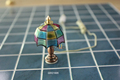 Battery Dollhouse miniature LED Light with Tiffany Shade and brass base Table lamp QW21005