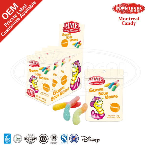 Sour Worm Shape Gummy Candy