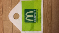 two color printing both sides MacDonald die cut plastic bag for shopping