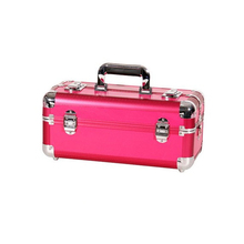 Portable red cosmetic aluminum mini makeup beauty case