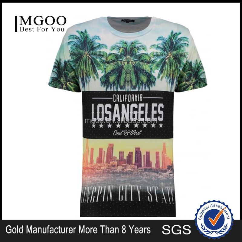 Digital Print Oversized Crew Neck Tee Mens White City State Sublimated Print T-Shirt Cotton&Polyester
