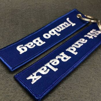 cheap promotional novelty personized cotton embroidery keychain/keyring