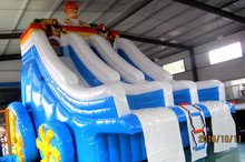 double lane commercial inflatable water slide with pool