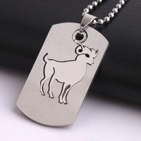Square tags Aries stainless steel Pendants Necklaces