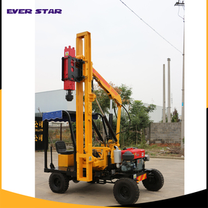 Highway small hydraulic hammer guardrail pile driver