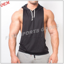 Low Cut Sides 100% Polyester Dry Fit Racerback Stringer Muscle Hoodie