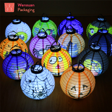 Halloween Party and Decorative 21*34 cm Paper Lanterns With LED Light Inside: Pumpkin, Witch, Spider, Bat,Skeleton/skull