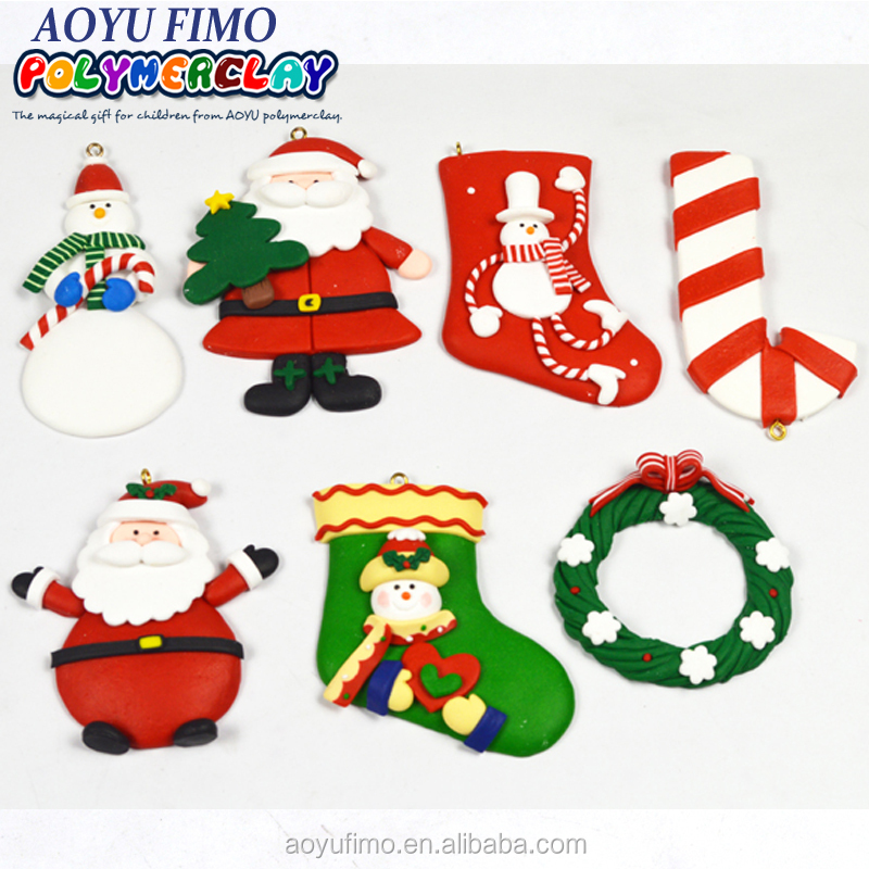 Personalized clay dough hang ornament for Christmas tree polymer clay decoration