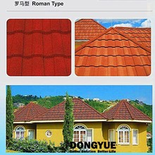 Fast install nice appearance Roman type of stone coated metal roofing tiles