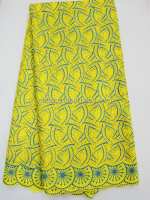 J273-4 yellow color best cotton swiss voile lace embroidery african lace fabric