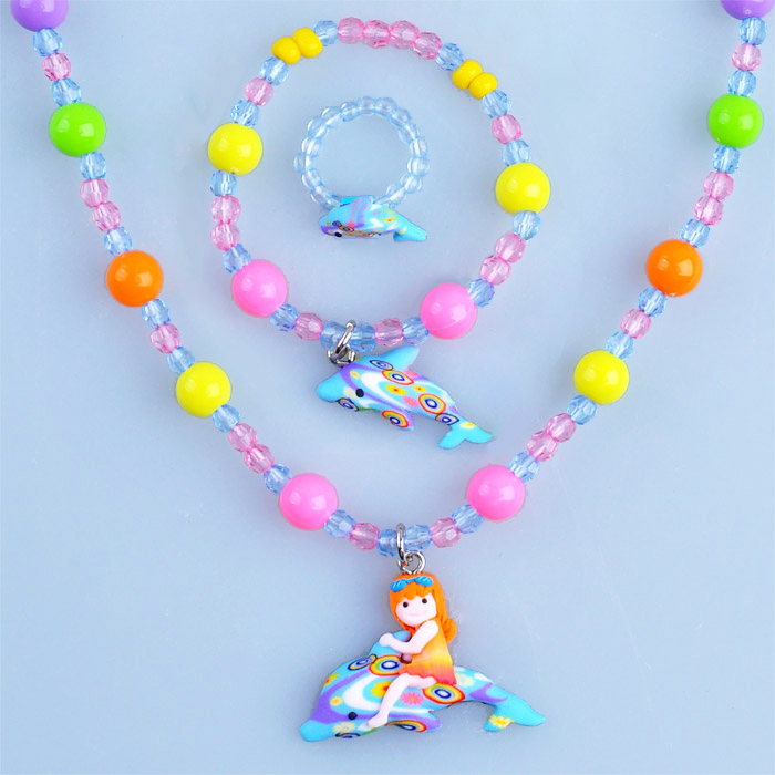 artificial finger rings for girls children jewelry set kids plastic bracelet necklace